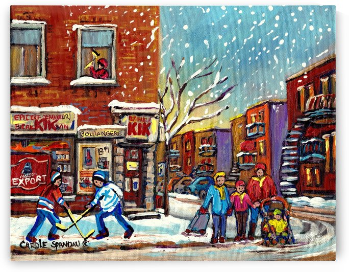 FAMILY AT DEPANNEUR SNOWY MONTREAL WINTER SCENE  by Carole  Spandau