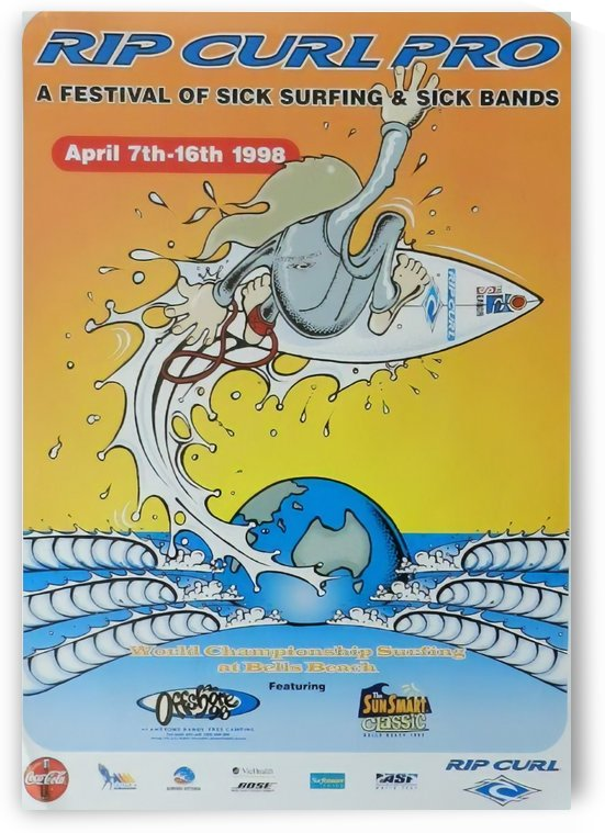 1998 RIP CURL PRO BELLS BEACH EASTER Surfing Championship Competition Print - Surfing Poster by Surf Posters
