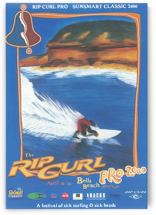 2000 RIP CURL PRO BELLS BEACH EASTER Surfing Championship Competition Print - Surfing Poster by Surf Posters