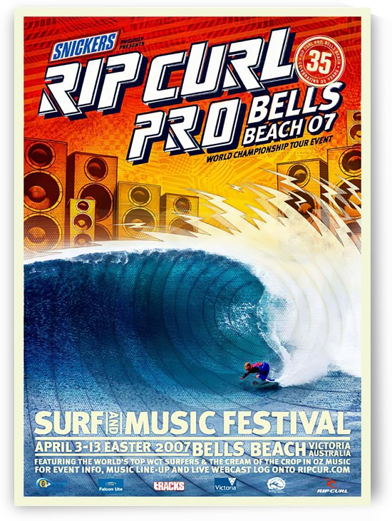 2007 RIP CURL PRO BELLS BEACH EASTER Surfing Championship Competition Print - Surfing Poster by Surf Posters
