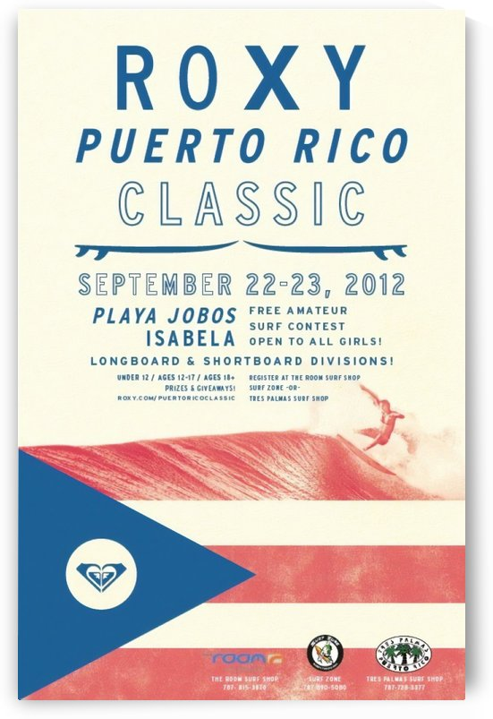 2012 ROXY PUERTO RICO CLASSIC Surfing Competition Print by Surf Posters