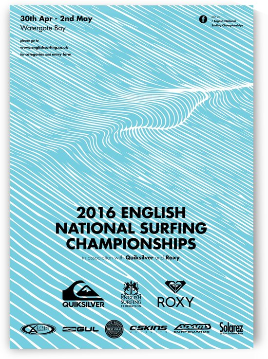 2016 ENGLISH NATIONAL SURFING Tournament Poster by Surf Posters