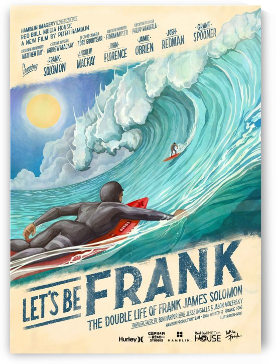 2016 LETS BE FRANK Surfing Print by Surf Posters