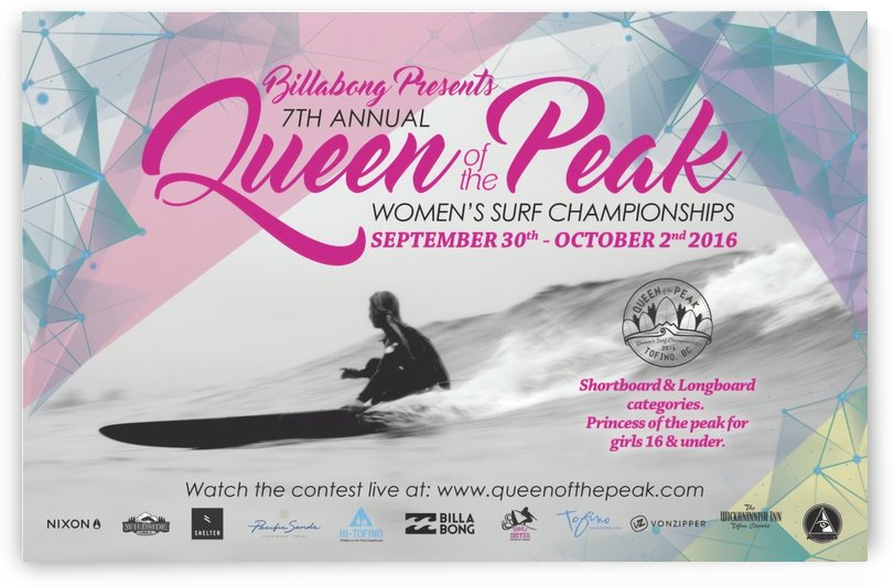 2016 BILLABONG QUEEN OF THE PEAK Surf Competition Print by Surf Posters