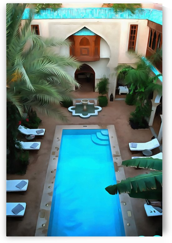 Looking Down Over Riad Pool Marrakesh by Dorothy Berry-Lound