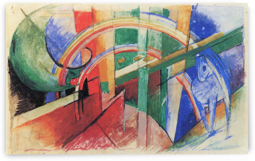Blue horse with rainbow by Franz Marc by Franz Marc
