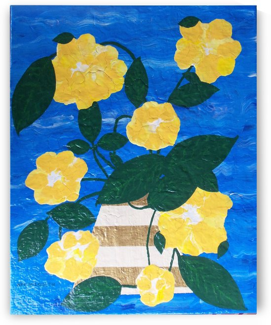 Yellow flowers in vase  by Keith A Loreth