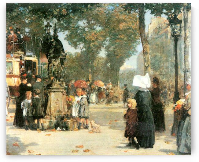 Parisian street scene -1- by Hassam by Hassam
