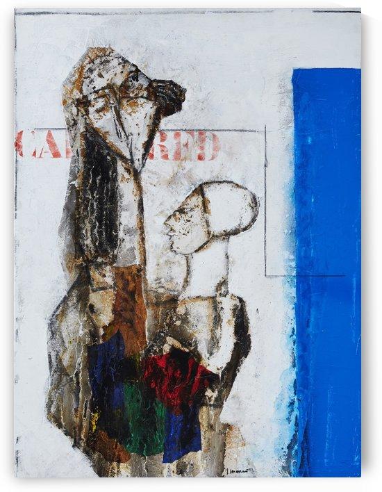 Femme et enfant au Bleu by Vango Art Gallery