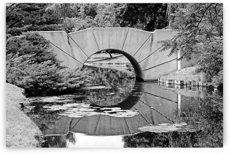 Reflecting Bridge Dow Gardens BW 062618 by Mary Bedy