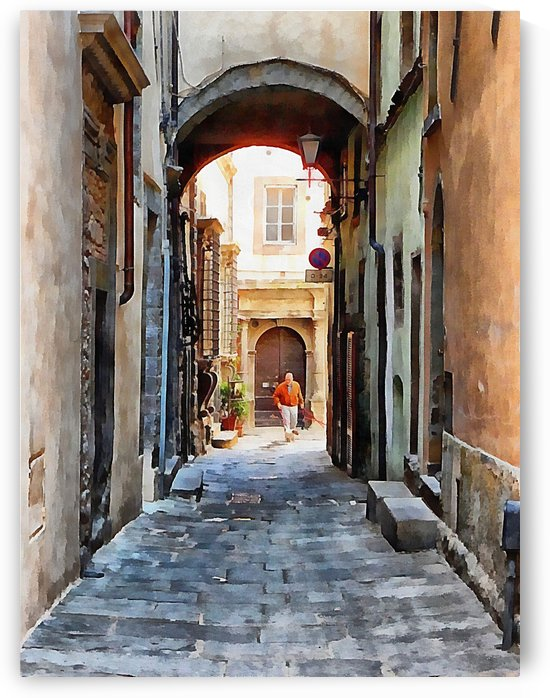 Walking The Dog In Cortona by Dorothy Berry-Lound