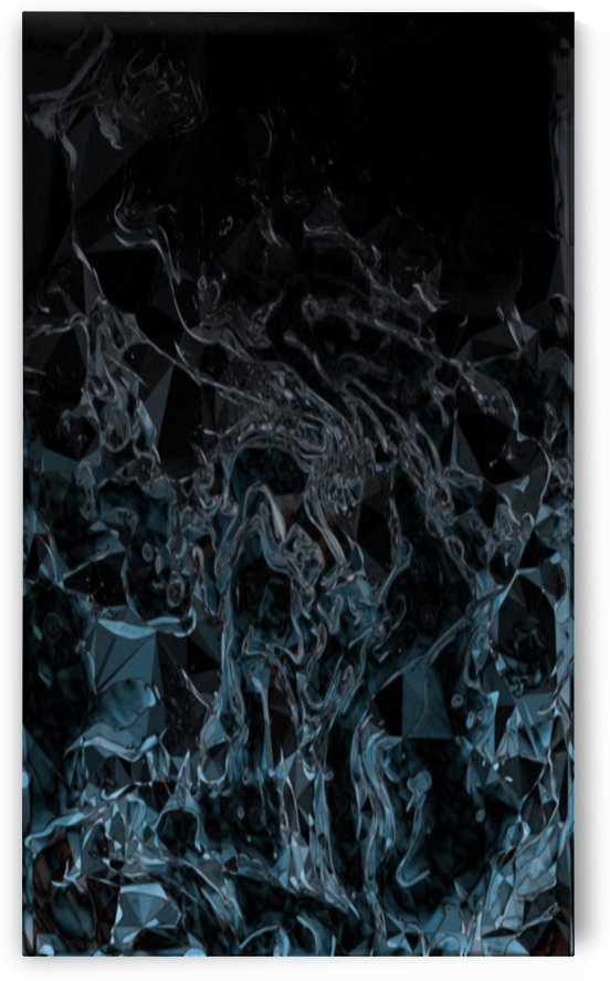 Cracked Black Ice - light blue grey black gradient abstract swirls and polygons by Jaycrave Designs