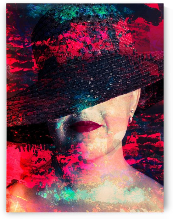 Portrait of Woman with Red Lipstick & Hat - Digital Art by Art By Dominic