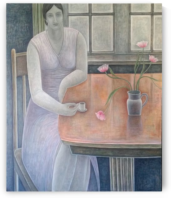 Woman With Small Cup by Vango Art Gallery