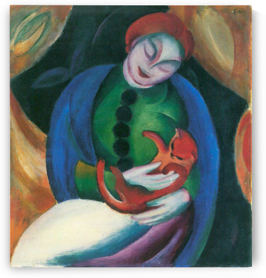 Girl with a Cat II by Franz Marc by Franz Marc