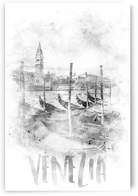 Monochrome Art CANAL GRANDE | watercolor by Melanie Viola