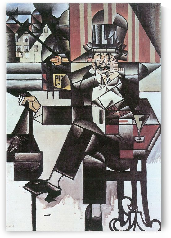 Man in Cafe -1- by Juan Gris by Juan Gris