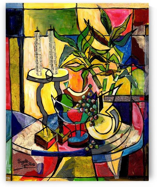 still life candles n fruit by Everett Spruill
