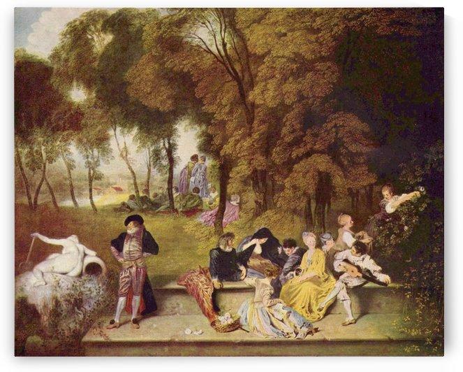 Gesellige Unterhaltung im Freien by Antoine Watteau