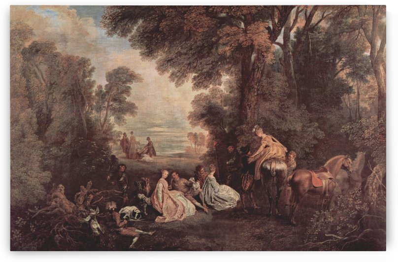 The Halt during the Chase by Antoine Watteau