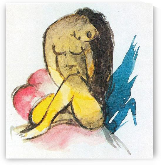 Sitting yellow lady by Franz Marc by Franz Marc