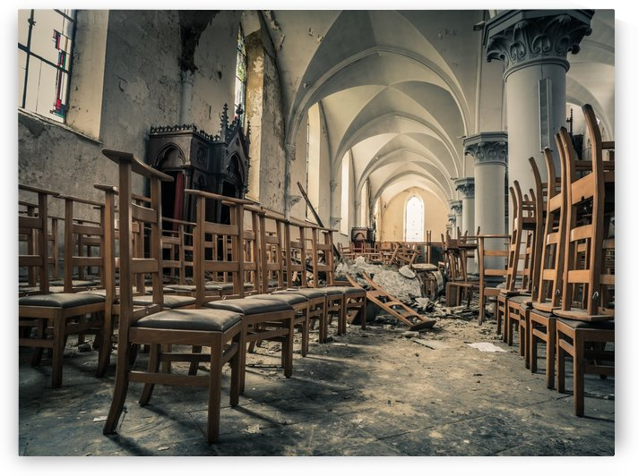 Chairs in Abandoned Church Belgium by Art By Dominic