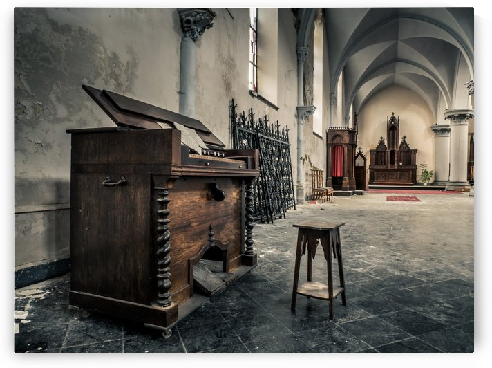 Piano in Abandoned Church Belgium by Art By Dominic