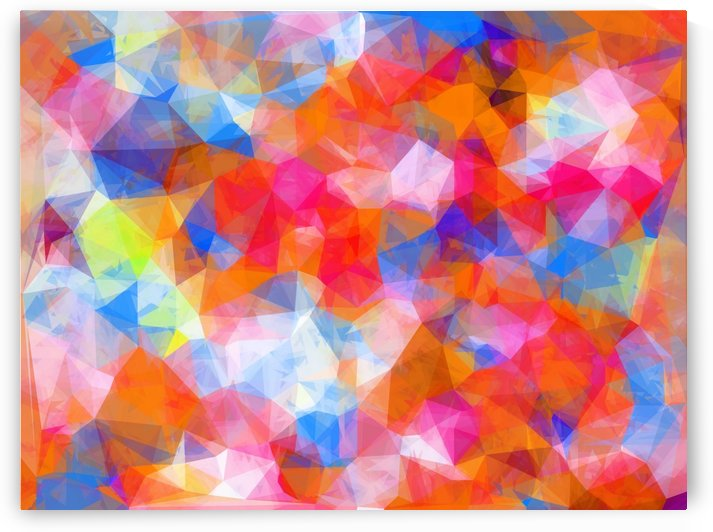 geometric triangle pattern abstract background in orange pink blue by TimmyLA