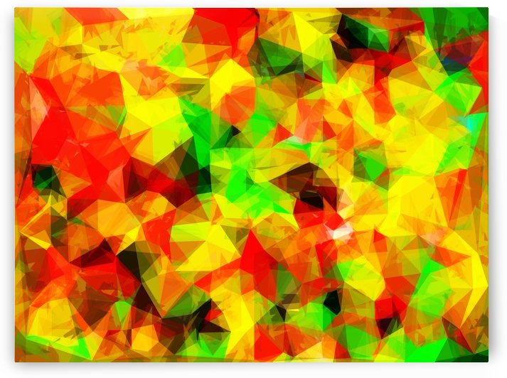 geometric triangle pattern abstract background in yellow green red by TimmyLA