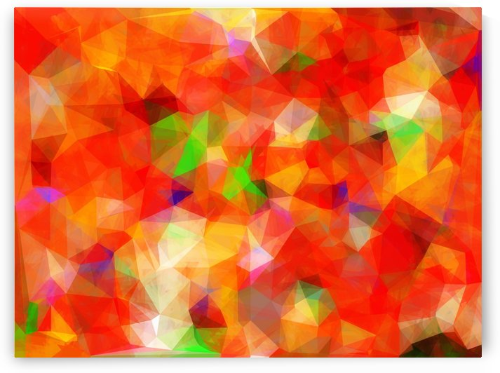 geometric triangle pattern abstract background in red orange green by TimmyLA