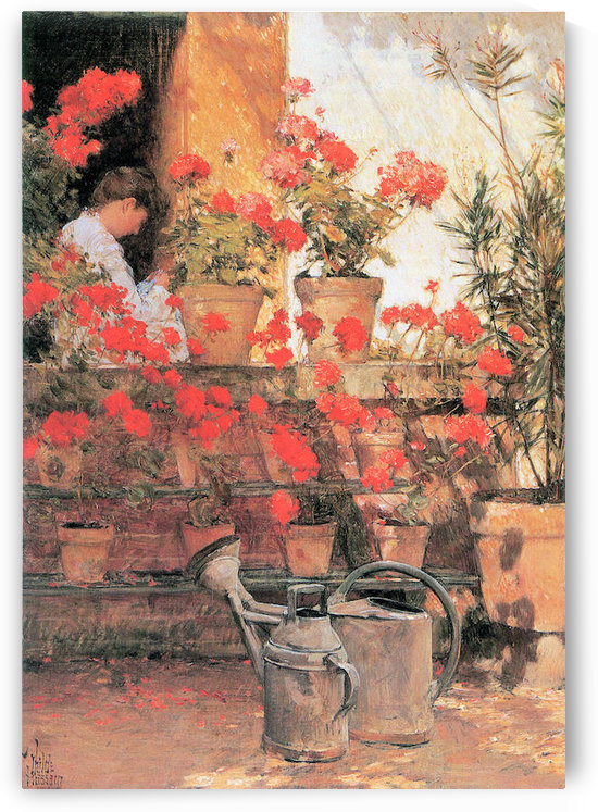 Red Geraniums by Hassam by Hassam