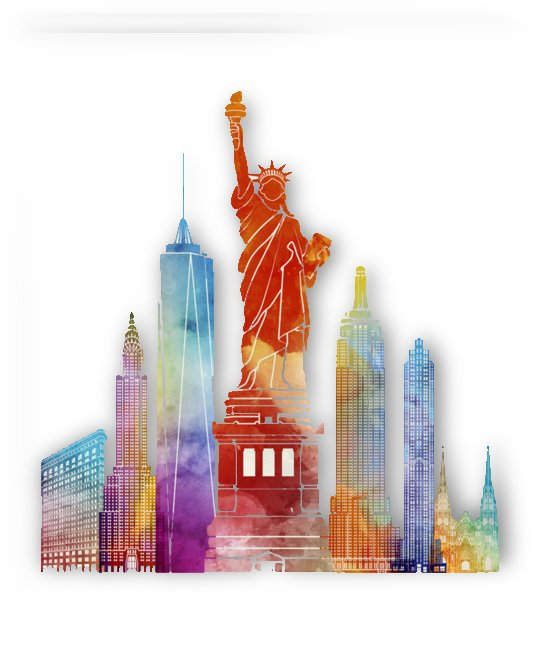 new york city poster watercolor painting  illustration by Shamudy
