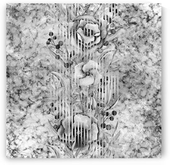Shades of grey floral abstract  by Gabriella David