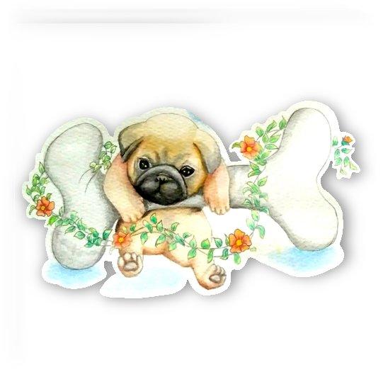 pug watercolor cute animal dog by Shamudy