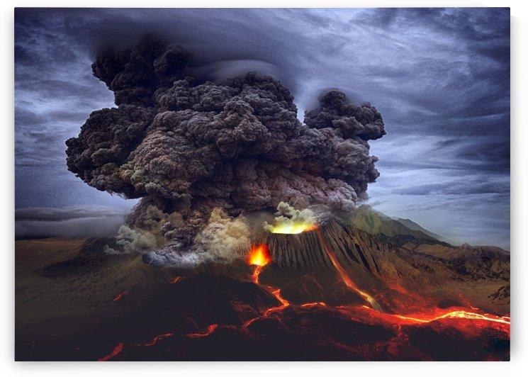 landscape volcano eruption lava by Shamudy