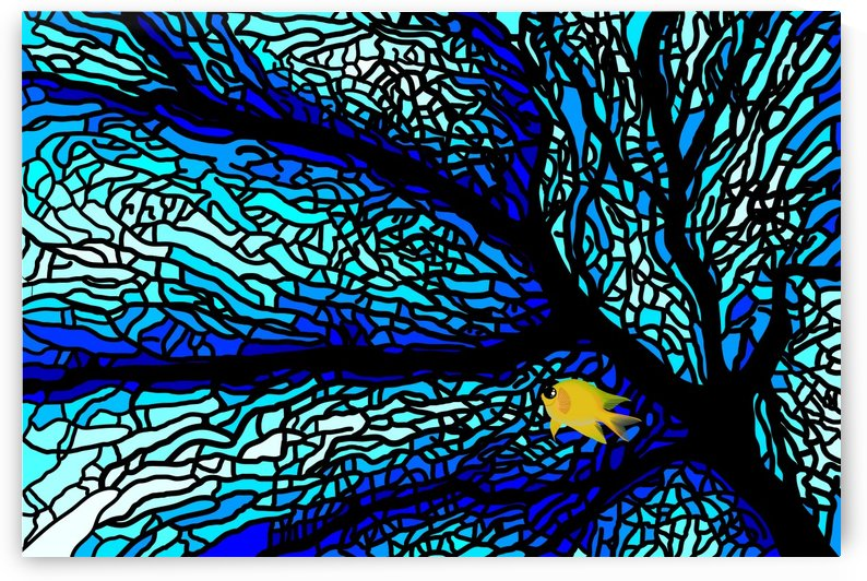 sea fans diving coral stained glass by Shamudy