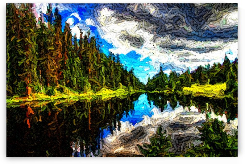 color lake mountain painting by Shamudy