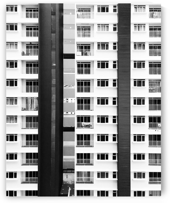 white and black city buildings by Shamudy