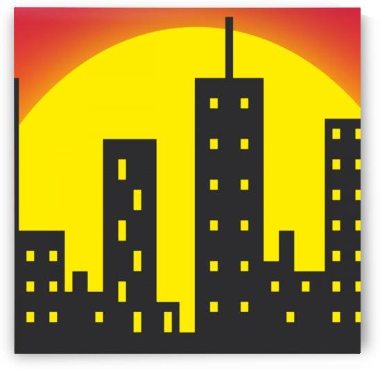 skyline city building sunset by Shamudy
