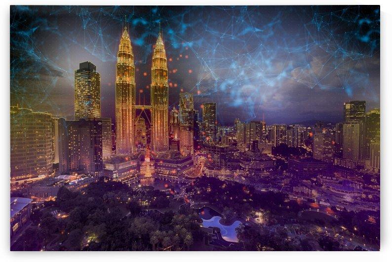 city lights skyline buildings by Shamudy