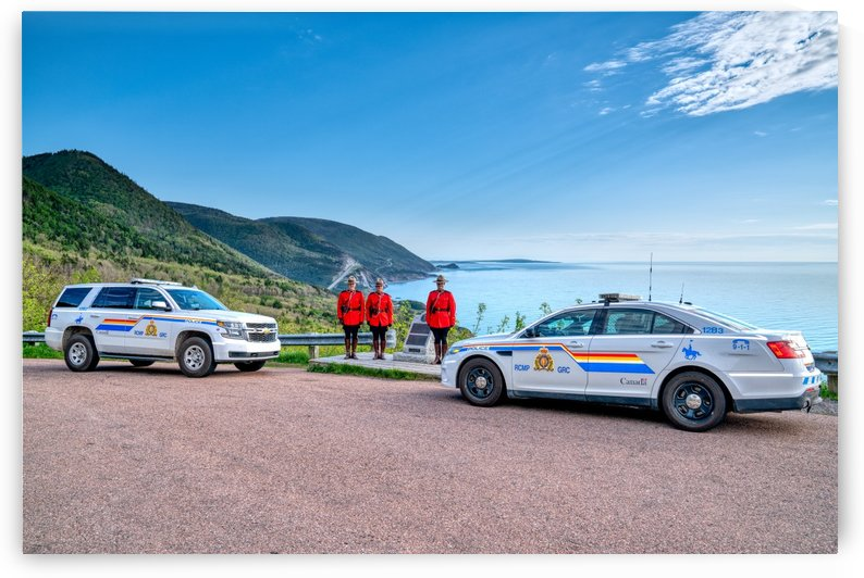 RCMP at ease with cruisers at French Mountain Monument by Michel Soucy