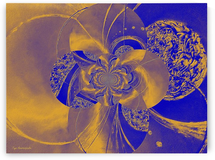 Blue And Gold Circular Patterns by Faye Anastasopoulou