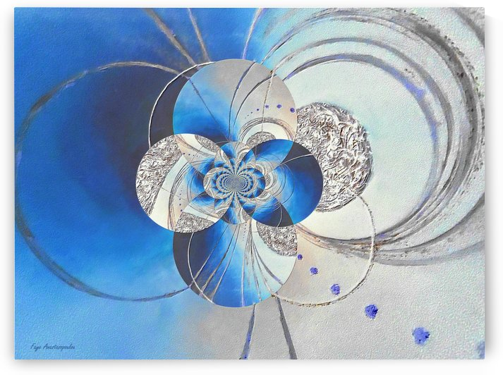 Blue And White Circular Patterns by Faye Anastasopoulou