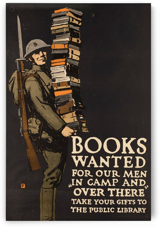 army military books vintage poster by Shamudy