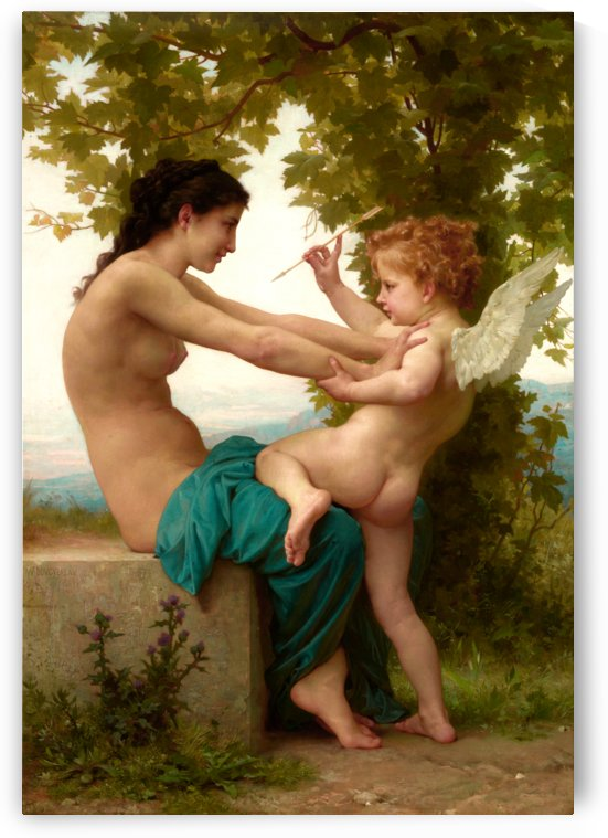 A Young Girl Defending Herself Against Eros by William Adolphe Bouguereau by xzendor7