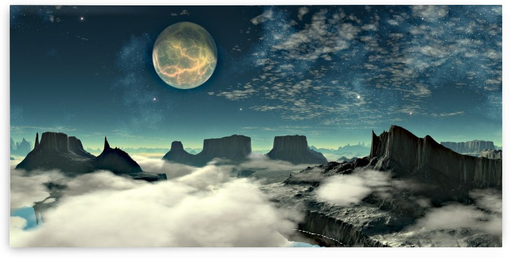 lunar landscape space mountains by Shamudy