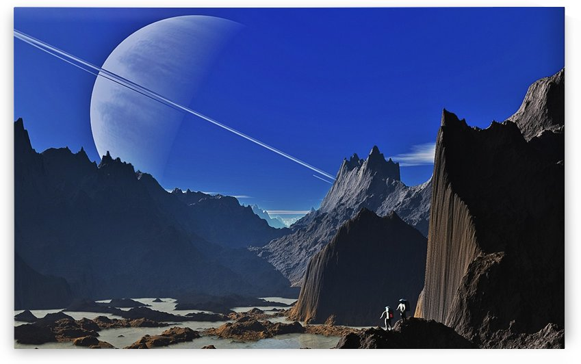 saturn landscape mountains by Shamudy
