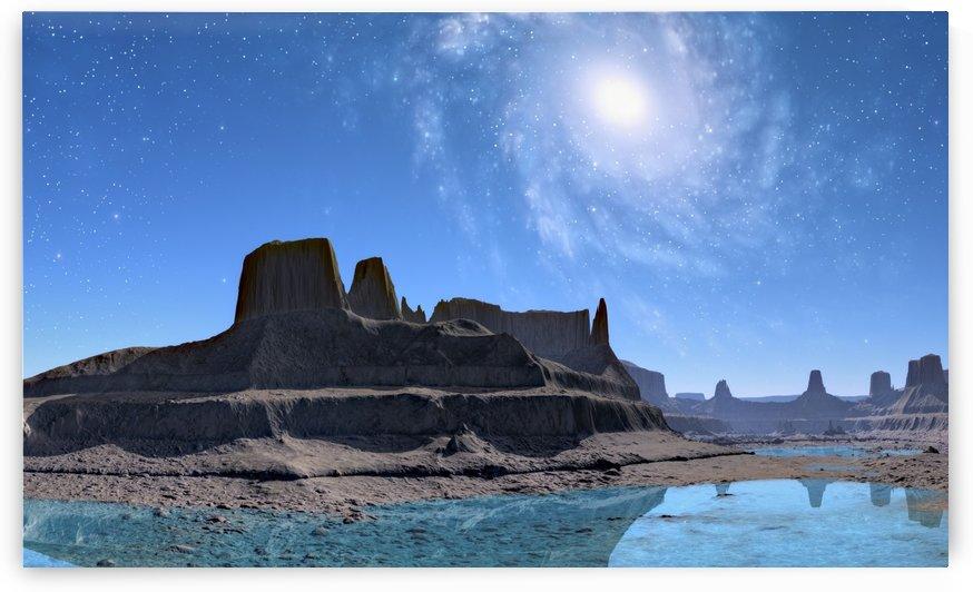 mountains galaxy lake landscape by Shamudy