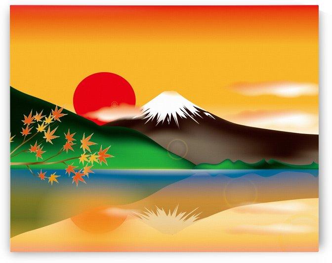 mount fuji japan lake sun sunset by Shamudy