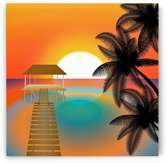 sunset beach beach palm ocean by Shamudy